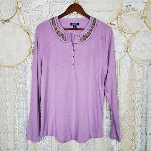 CHAPS  Womens Light Purple Embellished Henley Top